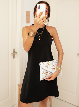 Above Knee Halter Polyester Solid Sleeveless Fashion Dresses