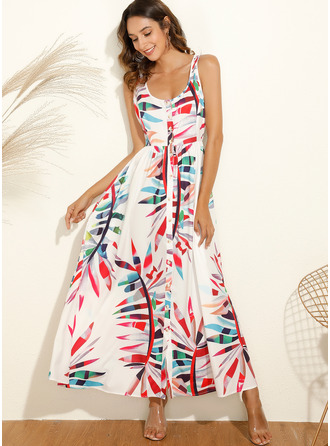 Midi U Neck Polyester Print Sleeveless Fashion Dresses