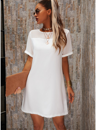 Solid Shift Short Sleeves Mini Little Black Casual Elegant Dresses
