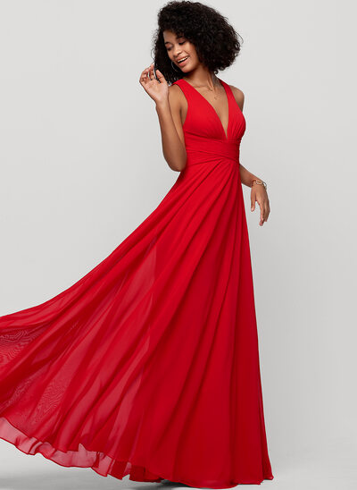 A-Line V-neck Floor-Length Chiffon Evening Dress With Bow(s)