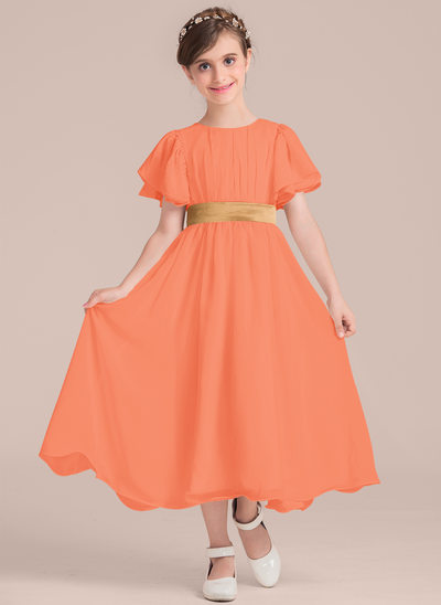 Vestidos princesa/ Formato A Decote redondo Comprimento médio Tecido de seda Vestido de daminha júnior com Pregueado Cintos