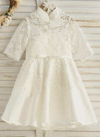 A-Line Knee-length Flower Girl Dress - Satin/Tulle/Lace 1/2 Sleeves Stand Collar With Sash (Undetachable sash)