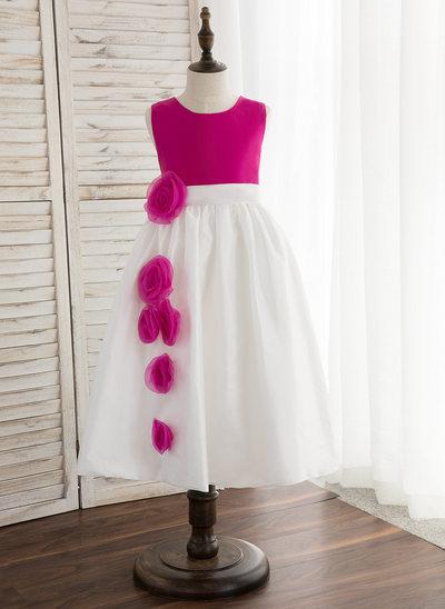 Forme Princesse Longueur mollet Robes à Fleurs pour Filles - Taffeta Sans manches Col rond avec Fleur(s)