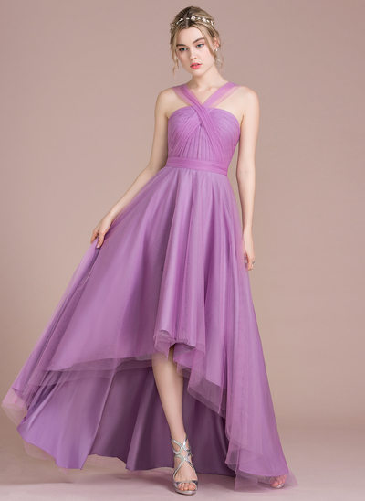 A-Line/Princess V-neck Asymmetrical Tulle Prom Dresses With Ruffle