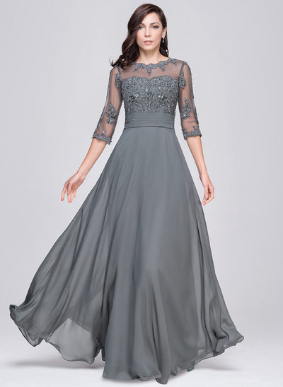 A-Line/Princess Scoop Neck Floor-Length Chiffon Evening Dress With Ruffle Beading Appliques Lace Sequins
