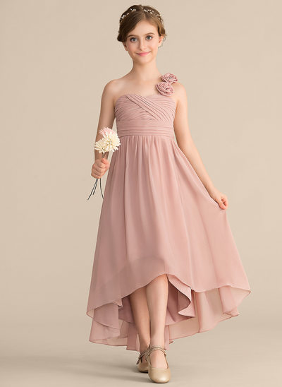 A-Line/Princess One-Shoulder Asymmetrical Chiffon Junior Bridesmaid Dress With Ruffle Flower(s) Bow(s)
