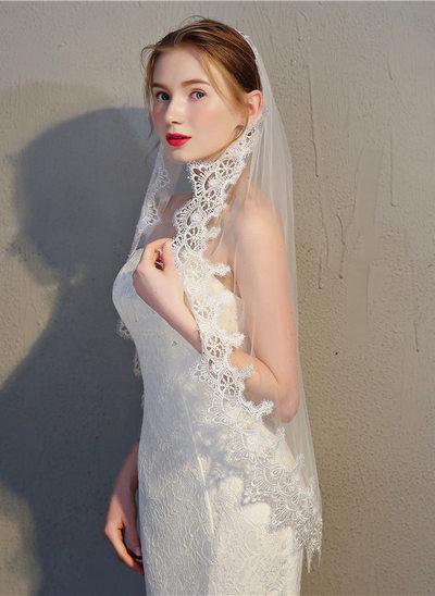 Einschichtig Spitze Saum Fingerspitze Braut Schleier