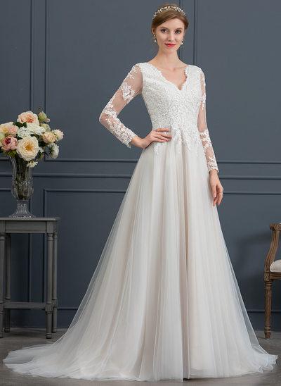 Vestidos princesa/ Formato A Decote V Cauda de sereia Tule Vestido de noiva