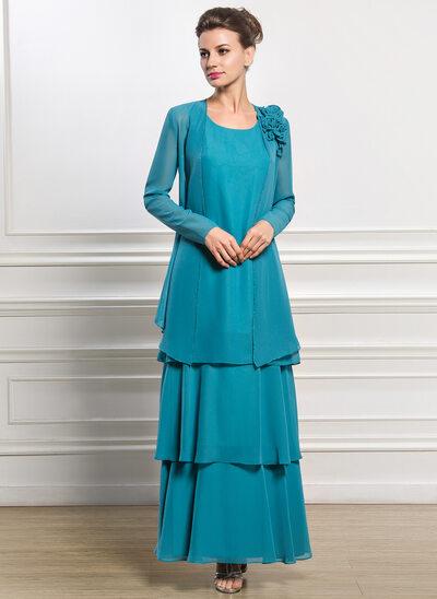 Forme Princesse Col rond Longueur cheville Mousseline Robe de mère de la mariée