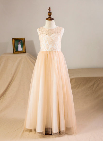 A-Line/Princess Floor-length Flower Girl Dress - Satin/Tulle/Lace Sleeveless Scoop Neck With Back Hole