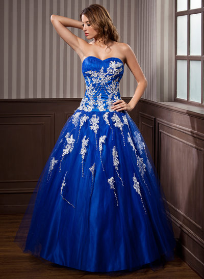 Duchesse-Linie Herzausschnitt Bodenlang Tüll Quinceañera Kleid (Kleid für die Geburtstagsfeier) mit Perlen verziert Applikationen Spitze Pailletten