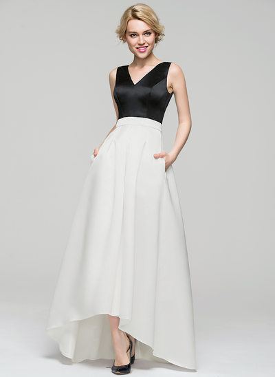 A-Line V-neck Asymmetrical Satin Evening Dress With Pockets
