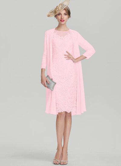 Sheath/Column Scoop Neck Knee-Length Lace Mother of the Bride Dress With Beading Sequins