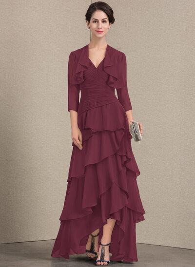 A-Line/Princess V-neck Asymmetrical Chiffon Mother of the Bride Dress With Beading Sequins Cascading Ruffles