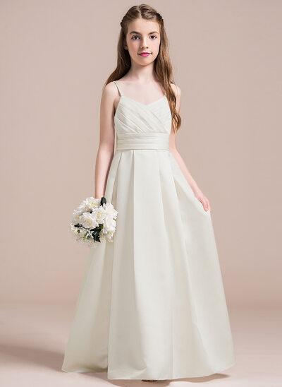 A-Line/Princess Sweetheart Floor-Length Satin Junior Bridesmaid Dress With Ruffle