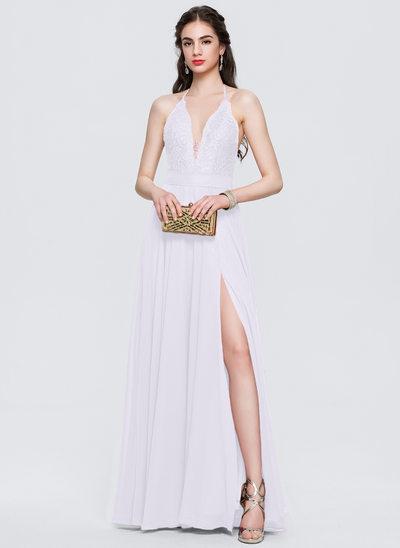 Corte A Cabresto Longos Tecido de seda Vestido de baile com Frente aberta