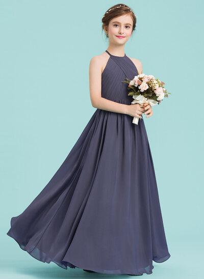 A-Linie/Princess-Linie U-Ausschnitt Bodenlang Chiffon Kleid für junge Brautjungfern mit Rüschen