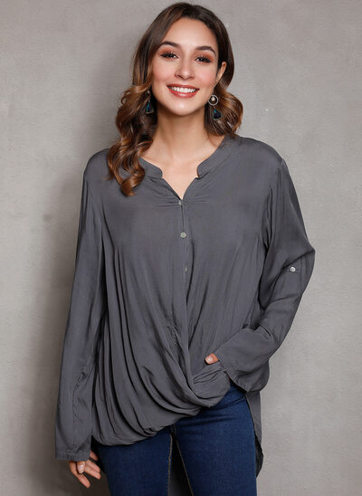 Solid Long Sleeves Cotton V Neck Blouses