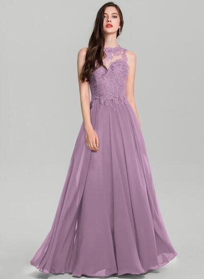 Vestidos princesa/ Formato A Decote redondo Longos Tecido de seda Vestido de baile
