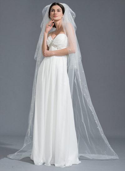 Three-tier Cut Edge Chapel Bridal Veils With Beading
