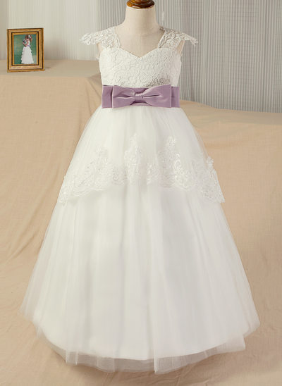 Ball Gown Sweep Train Pageant Dresses - Satin/Tulle/Lace Sleeveless Straps With Sash/Appliques