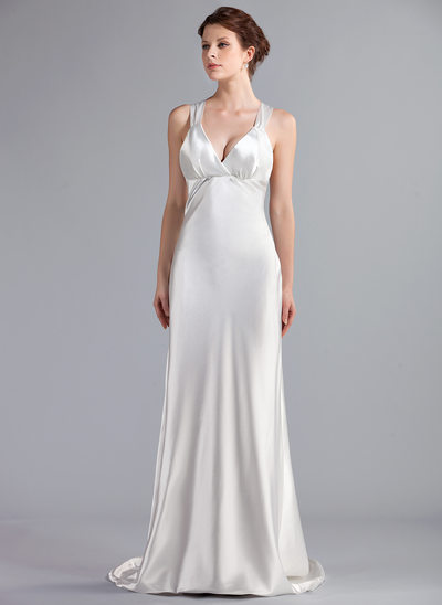 Empire V-neck Sweep Train Charmeuse Wedding Dress