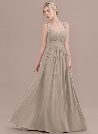 A-Line/Princess Sweetheart Sweep Train Chiffon Prom Dresses With Ruffle Lace