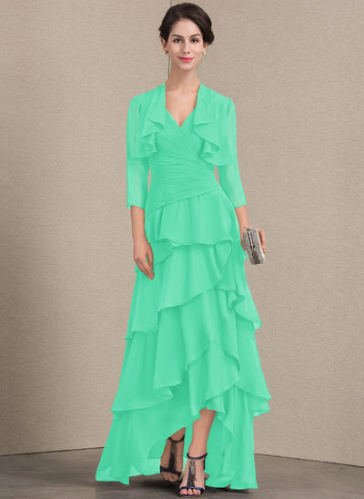 A-Line V-neck Asymmetrical Chiffon Mother of the Bride Dress With Beading Sequins Cascading Ruffles