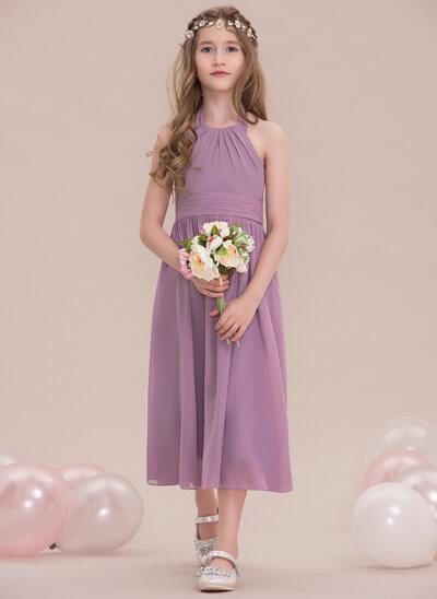 A-Line/Princess Halter Tea-Length Chiffon Junior Bridesmaid Dress With Ruffle