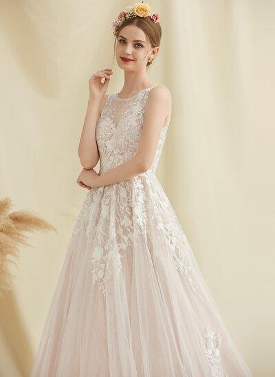 De Baile/Princesa Decote redondo Cauda de sereia Tule Renda Vestido de noiva