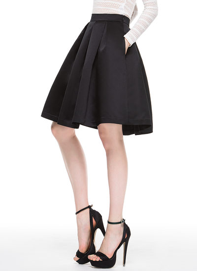 A-Line Knee-Length Satin Cocktail Dress With Pockets