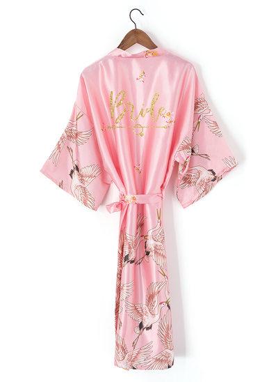 Personalizado charmeuse Novia Dama de honor Mamá Dama de honor junior Togas florales Batas con estampado de purpurina