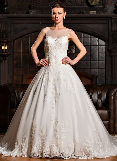 Ball-Gown Scoop Neck Royal Train Tulle Wedding Dress With Appliques Lace