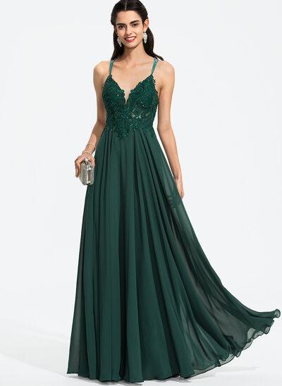 Áčkové Šaty V-Výstřihem Délka na zem Šifón Plesové šaty S Zdobení korálky flitry