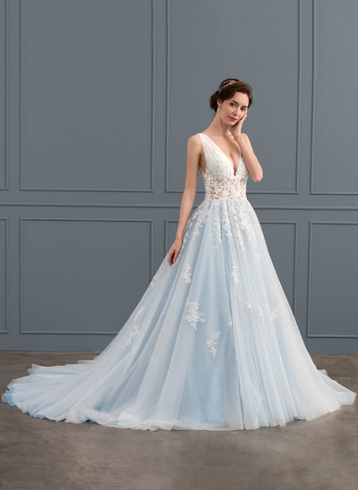 De baile Decote V Cauda longa Tule Renda Vestido de noiva