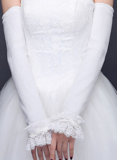Lace Elbow Length Bridal Gloves With Lace