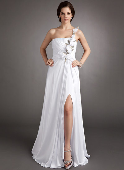 A-Line/Princess One-Shoulder Floor-Length Chiffon Prom Dress With Ruffle Flower(s) Sequins Split Front