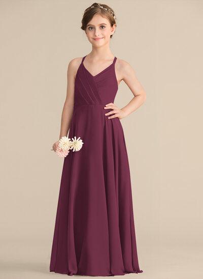 A-linjainen/Prinsessa V-kaula-aukko Lattiaa hipova pituus Sifonki Nuorten morsiusneito mekko jossa Laskeutuva röyhelö