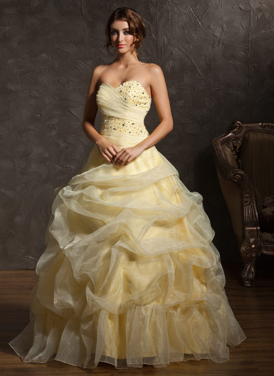 Ball-Gown Sweetheart Floor-Length Organza Quinceanera Dress With Ruffle Beading