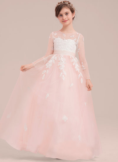 Ball Gown Floor-length Flower Girl Dress - Tulle/Lace Long Sleeves Scoop Neck With Appliques/Bow(s)
