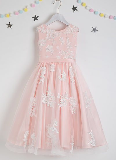 A-Line Tea-length Flower Girl Dress - Satin/Tulle/Lace Sleeveless Scoop Neck