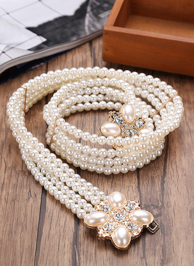 Elegant Imitation Pearls Sash With Rhinestones