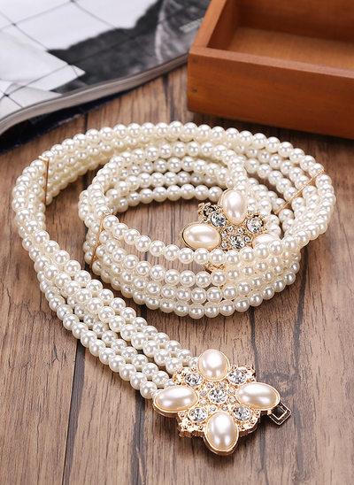 Elegant Imitert Perle Bånd med Rhinestones