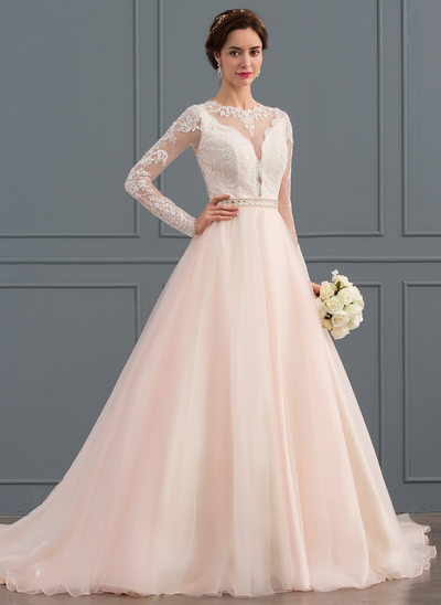 Ball-Gown Scoop Neck Chapel Train Tulle Wedding Dress With Beading