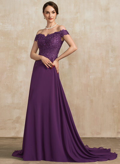 A-Line Off-the-Shoulder Sweep Train Chiffon Lace Mother of the Bride Dress With Beading Sequins