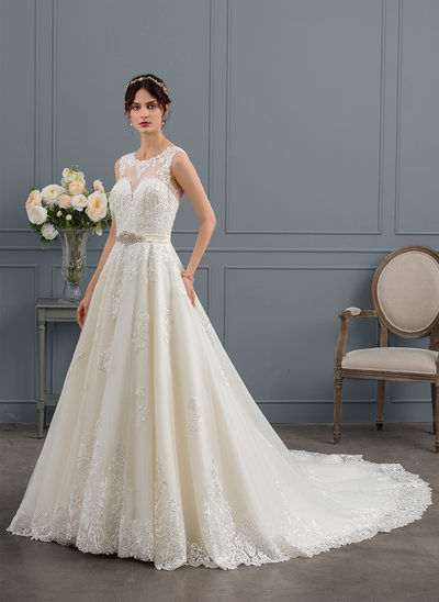 Ball-Gown/Princess Illusion Royal Train Tulle Wedding Dress With Beading Sequins