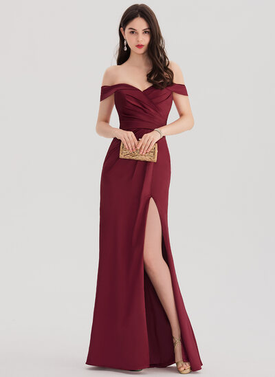 Sheath/Column Off-the-Shoulder Floor-Length Satin Prom Dress With Ruffle Split Front