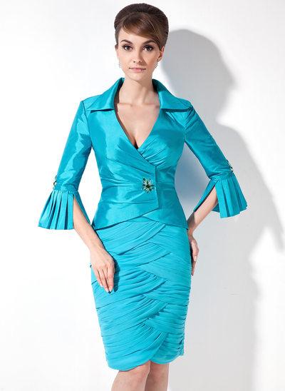 Sheath/Column V-neck Knee-Length Chiffon Taffeta Mother of the Bride Dress With Ruffle Beading