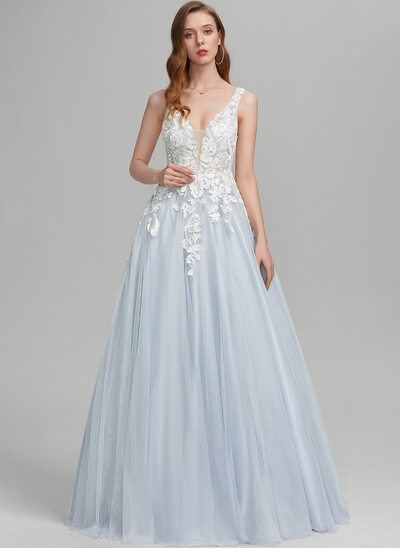 Ball-Gown/Princess V-neck Floor-Length Tulle Prom Dresses