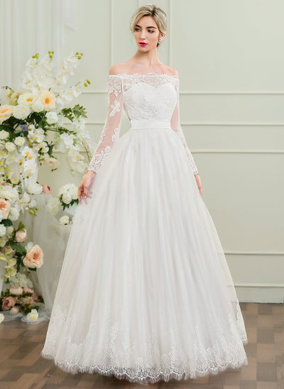 Vestidos princesa/ Formato A Off-the-ombro Longos Tule Vestido de noiva